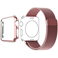 Apple Watch Band, Biaoge Steel Milanese Loop Replacement Wrist Band with Plated Case for Apple Watch Series 1...