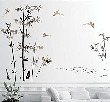 Reyqing Wall Stickers Bamboo Lavaggio Inchiostro Wall ...