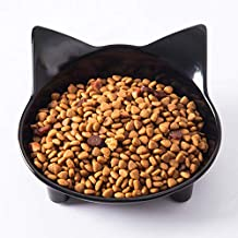 SLSON Cat Bowls,Shallow Cat Food Bowl Wide Mouth Pet Feeding Dishes with Non Slip Rubber,for Relief of Whisker Cats,Black