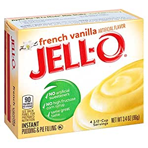 Jell-O French Vanilla Instant Pudding Mix 3.4 Ounce Box (Pack of 6)