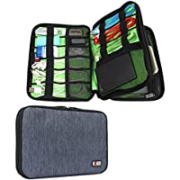 BUBM Universal Double Layer Travel Gear Organizer / Electronics Accessories Bag (Medium, Dark Blue)