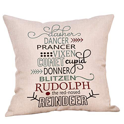 Softxpp Christmas Sign Dasher Dancer Prancer Vixen Comet Cupid Donner Blitzen Rudolph Reindeer Throw Pillow Cover Winter Holiday Decor Cushion Case Decorative for Sofa Couch 18