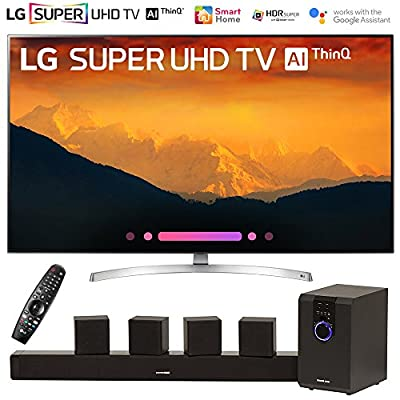 "LG 65SK9000PUA 65"" Super UHD 4K AI Smart TV w/Nano Cell Display (2018 Model) with Sharper Image 5.1 Home Theater System w/Subwoofer, Sound Bar & Satellite Speakers"