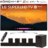 LG 65SK9000PUA 65 Super UHD 4K AI Smart TV w/Nano Cell Display (2018 Model) with Sharper Image 5.1 Home Theater System w/Subwoofer, Sound Bar & Satellite Speakers