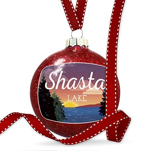 Christmas Decoration Lake retro design Shasta Lake Ornament by Acove