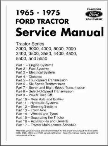 - 1965-1975 Ford Tractor Repair Shop Manual Reprint 2000 3000 4000 5000 7000