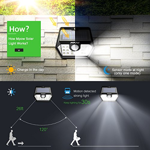 Mpow Solar Lights Outdoor, Bright 20 LED Motion Activated Lights with Wide Angle Lighting, IP65 Waterproof Wireless Security Lights for Garage Front Door Garden Pathway - 2 Pack (Auto On/Off) by Mpow (Image #2)