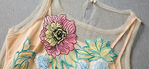 Purpura Erizo Femme Robe Courte Ajusté Sans Manche Imprimée Floral Broderie Fermeture Eclair