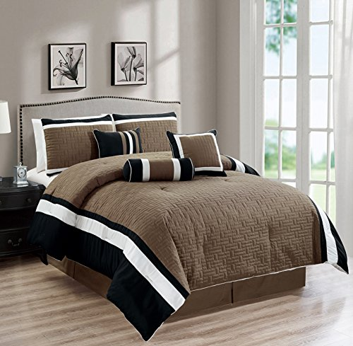 (All American Collection New 7 Piece Embroidered Over-Sized Comforter Set (Queen, Dark Taupe/Black))