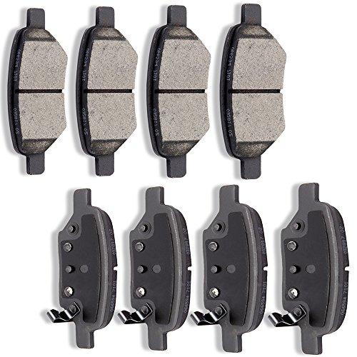 Malibu Chevy Brake (SCITOO Ceramic Discs Brake Pads Kits, 8pcs Disc Brakes Pads Set fit for 2004-2012 Chevrolet Malibu,2007-2008 Pontiac G5,2006-2010 Pontiac G6,2007-2009 Saturn Aura)