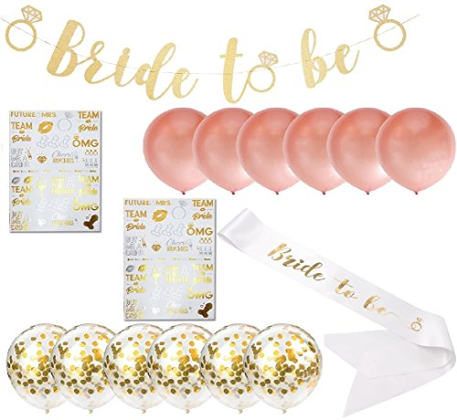 Complete Bachelorette Party Set | Includes All Supplies You Need For A Bridal Shower Party | Kit Comes With Rose Gold and White Balloons, Bridal Sash, Wall Decorations and Bachelorette Tattoos