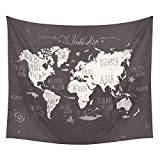"""iLeadon Black World Map Tapestry Wall Hanging – Polyester Fabric Wall Decor for bedroom (51""""H x 60""""W, Black World Map)"""