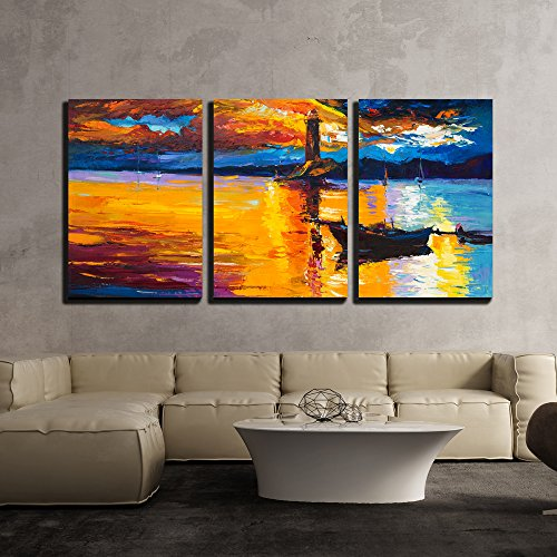 wall26 - 3 Piece Canvas Wall Art - Original Oil Painting of Lighthouse and Boats on Canvas - Modern Home Decor Stretched and Framed Ready to Hang - 24