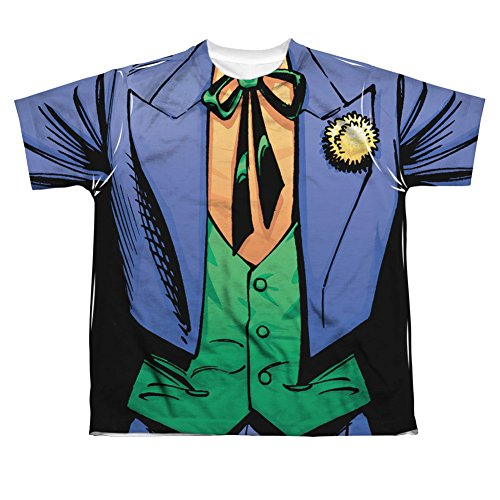 [Batman DC Comics Superhero Joker Costume Big Boys Front Print T-Shirt Tee] (60s Costume Ideas For Boys)
