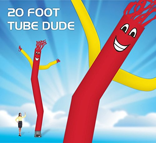 [20 Foot Fly Guy - Inflatable Tube Man - Sky Puppet Dancing Balloon. Fits all 18 inch fans. Red Body with Yellow Arms - Fabric] (Inflatable Wacky Waving Tube Man)