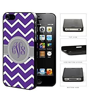 Purple and White Chevron Pattern with Gray and Purple Monogram in Center Hard Snap on Plastic Cell Phone Cover (iPhone 4/4s) wangjiang maoyi