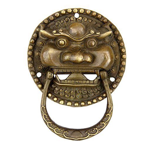 Handle,Antique door knocker Copper door knocker Beast handle Chinese solid brass door handle Antique door handle Antique handle Furniture handles-A