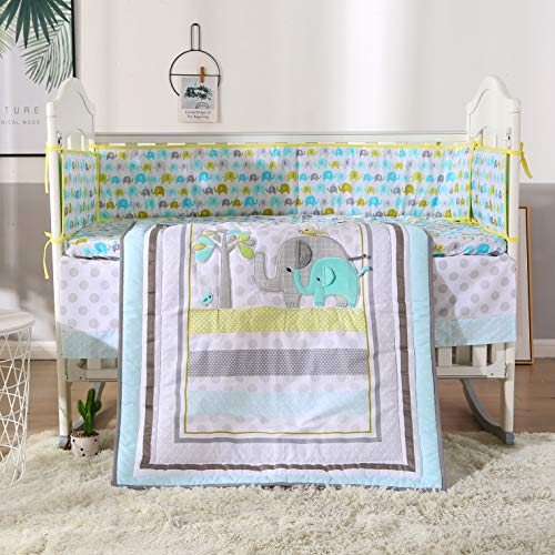 Wowelife Blue Elephant Crib Set Nursery Crib Bumper Bedding Baby Bedding Set for Girl Boy(Light Blue-7 Piece)