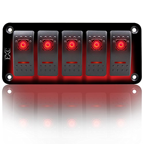 - FXC Rocker Switch Aluminum Panel 5 Gang Toggle Switches Dash 5 Pin ON/Off 2 LED Backlit for Boat Car Marine Red