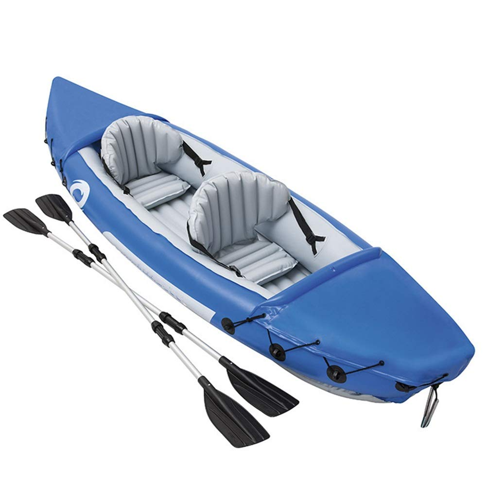 Durability Inflatable Kayaks Durable Double Canoe Drift Boat Kayak Inflatable Boat Inflatable Rubber Boat Thickened Fishing Boat/Blue (Color : Blue, Size : 351x76x38cm) by BoeWan