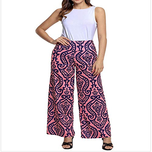 Awesoh--Direct Waist Damascus Print Retro Wide Leg Leggings,XX-Large,Pink,