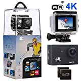 Action Camera, Amuoc 4K WiFi Ultra HD Waterproof Sport Camera with 12MP 170 Degree Wide-Angle Lens and 2 PCS Rechargeable Battery, Including Waterproof Case and Full Accessories Kits