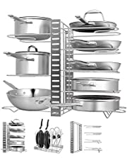 Expandable Pan Rack Organizer, G-TING 7+ Adjustable Pot Lid Holders & Bakeware Rack, Kitchen Cookware Pantry Cabinet Storage Rack with 7 Expandable Adjustable Compartments