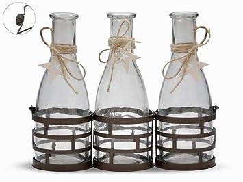 ARTE REGAL 44826 Set Metal con 3 Botellas Cristal, Transparente: Amazon.es: Hogar