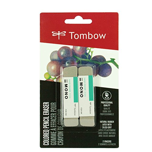 Tombow 67304 MONO Sand Eraser, 2-Pack. Silica Eraser Designed to Remove Colored Pencil and Ink Markings - Ink Pencil Eraser