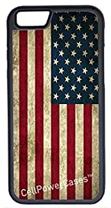 iPhone 6 Case, CellPowerCasesTM Grunge USA Flag [Flex Series] -iPhone 6 (4.7) Black Case [iPhone 6 (4.7) V1 Black] by runtopwell