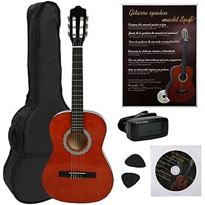 NAVARRA NV15PK Guitarra clásica STARTER PACK 1/2 honey con bordes negro incl. funda con correas tipo mochila y bolsillo para partituras/accesorios, Libro con muchos hit-canciones y CD, Cliptuner pantalla LCD de aguja con iluminación de fondo, 2 Púa