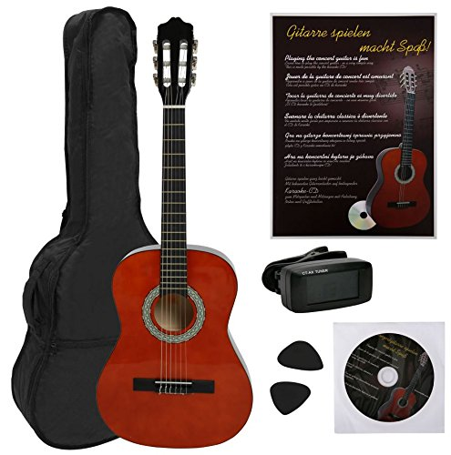 NAVARRA NV13PK Classical Guitar STARTER PACK 3/4 honey with black binding incl. Gig Bag with rucksack-straps and music sheet/accessories pocket, book with many hit-songs and CD, Cliptuner LCD needle-display with background illumination, 2 Picks - Navarro Classical Guitars