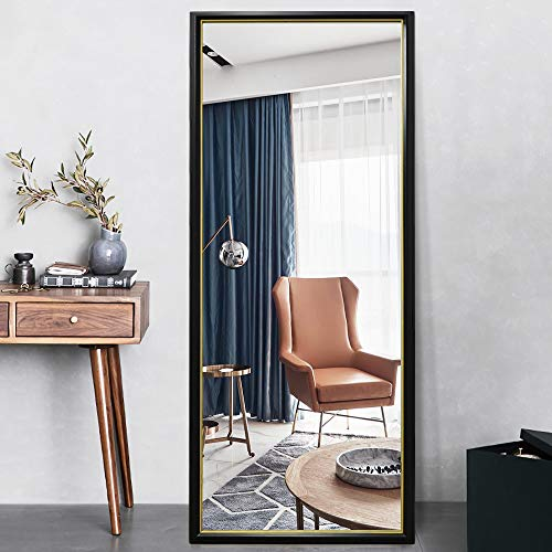 "PexFix 65""x22"" Full Length Mirror, Standing Floor Mirror Modern Color Blocking Framed Wall Mounted Mirror Bedroom Dressing Mirror for Home, Office Shops (Black Frame with Gold Edge)"
