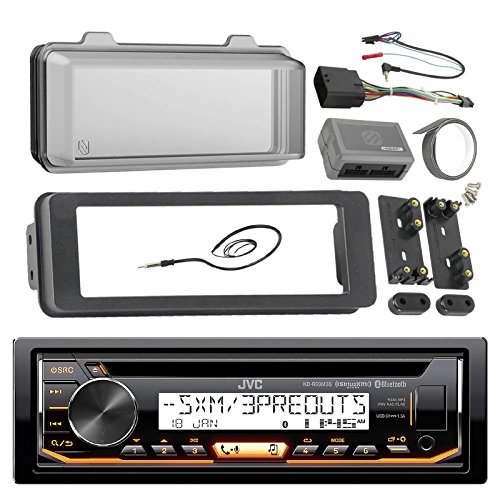 JVC Marine Radio Stereo Receiver Bundle, 1998 2013 Harley Davidson Touring Flht Flhx Flhtc, Adapter Dash Kit, Handle Bar Control Module, Weathershield Cover, Enrock Wire Antenna