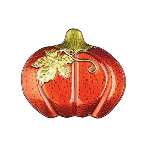 C&F Home Pumpkin Fused Glass Plate
