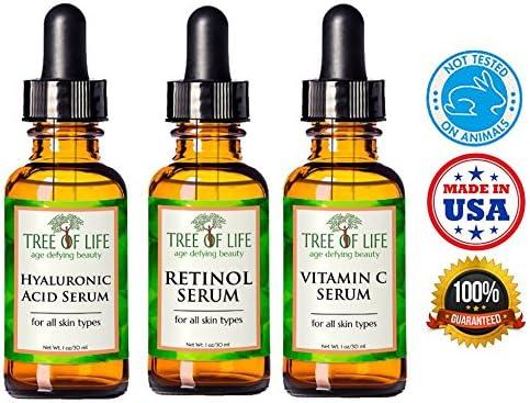 Anti Aging Serum 3-Pack for Face - Vitamin C Serum, Retinol Serum, Hyaluronic Acid Serum - Face Serum Full Regimen