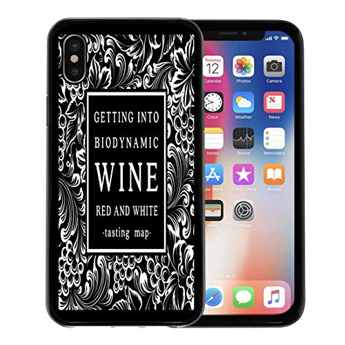 Emvency Phone Case for Apple iPhone Xs Case/iPhone X Case,Black Vineyard Label for Bottle of Wine Bunch Grapes Soft Rubber Border Decorative, ()