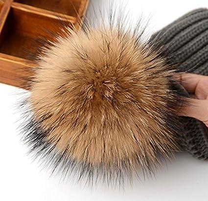 ee4ba756b5e0b WaySoft Mother-Child Matching Genuine Fur Pom Pom Beanie - Pom Pom Hat with Genuine  Pom Poms at Amazon Women s Clothing store