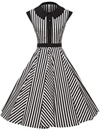 Women's 50's Cap Shoulder Knee-Length Vintage Church Dresses