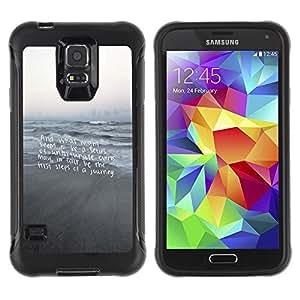 Suave TPU Caso Carcasa de Caucho Funda para Samsung Galaxy S5 SM-G900 / Beach Text Motivational Gray Sea / STRONG