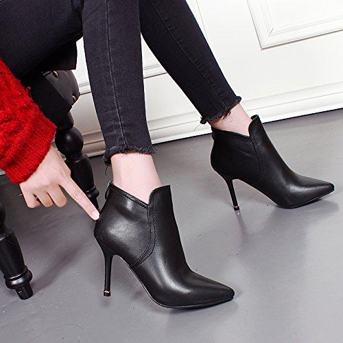 KHSKX-Korean High Heeled Bare Botas Mujer Botas Zapatos De Tacon Fino Otoño Sharp Sola Cremallera Lateral Martin Botas Botas Cortas black