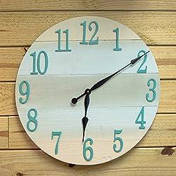 Coastal Theme Wall Clock - 24 diameter beach wall clock - Beach Theme Clock for Beach Cottage or Coastal Decor - Large Round Wood Clock for Beach Wall Decor