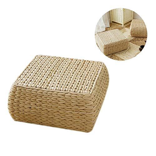 - Japanese Tatami Cushion,Comfortable Thickening Bulrush Rattan Woven Square Seat Cushion Tatami Cushion Floor Pillow,Multi-Functional Handmade Futon Square Mat