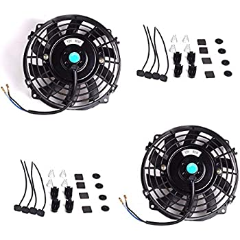 Upgr8 2 Pack Universal High Performance 12V Slim Electric Cooling Radiator Fan With Fan Mounting Kit (7
