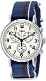 Timex Unisex TW2P62400 Weekender Chrono Oversize Blue/Cream/Brown Striped Slip-Thru Nylon Strap Watch