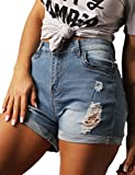 Women's Juniors Summer Shorts Casual High Waisted Distressed Ripped Stretch Denim Shorts JeansL LightBlue