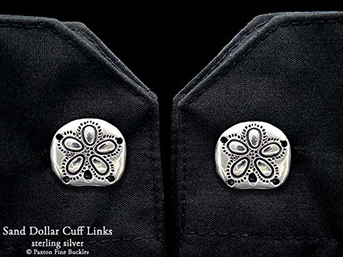 Sand Dollar Cuff Links in Solid Sterling Silver Hand Carved & Cast by Paxton by Paxton Jewelry
