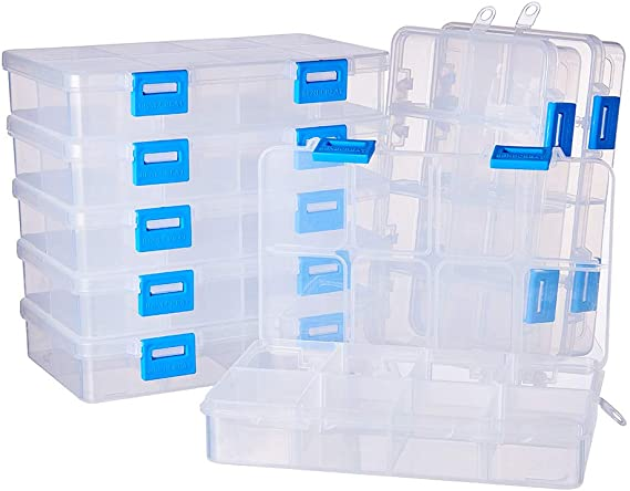 24//18//15//10//8 Grids BENECREAT 5 Pack-Mixed Size Jewelry Dividers Box Organizer Adjustable Clear Plastic Bead Case Storage Container