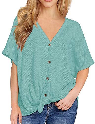 Ladies Shirts Comfy Loose Blouses Short Sleeve Summer Tee Tops Nursing Clothes LakeGreen -