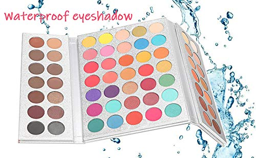 Beauty Glazed 63 Pop Colors Eyeshadow Palettes Matte Shimmer and Metal Blendable Soft and Cream No Flying Powder Makeup Waterproof Pigmented Eye Shadow Palette with Make Up Brushes Set and Sponge Blen